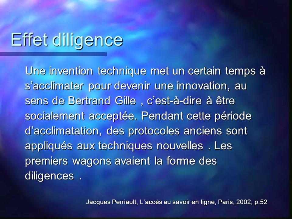 Effet diligence Une invention technique met un certain temps à sacclimater pour devenir une innovation, au sens de Bertrand Gille, cest-à-dire à être
