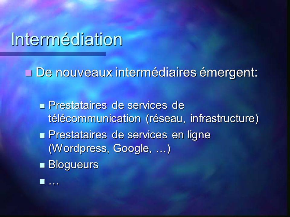 Intermédiation De nouveaux intermédiaires émergent: De nouveaux intermédiaires émergent: Prestataires de services de télécommunication (réseau, infras