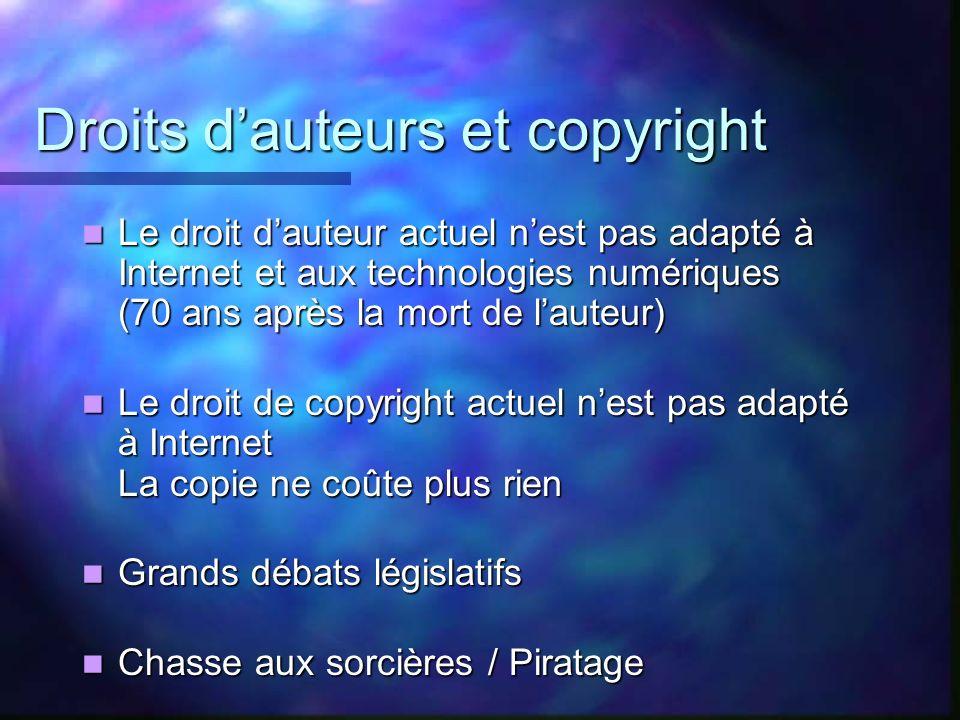 Droits dauteurs et copyright Le droit dauteur actuel nest pas adapté à Internet et aux technologies numériques (70 ans après la mort de lauteur) Le dr