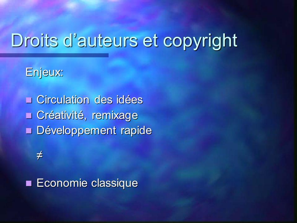 Droits dauteurs et copyright Enjeux: Circulation des idées Circulation des idées Créativité, remixage Créativité, remixage Développement rapide Dévelo