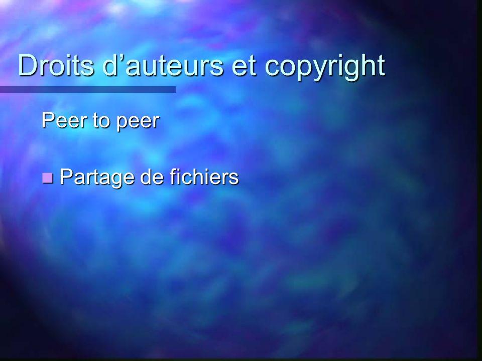 Droits dauteurs et copyright Peer to peer Partage de fichiers Partage de fichiers