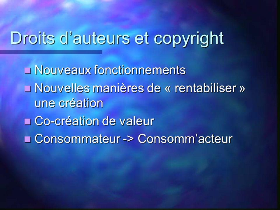 Droits dauteurs et copyright Nouveaux fonctionnements Nouveaux fonctionnements Nouvelles manières de « rentabiliser » une création Nouvelles manières