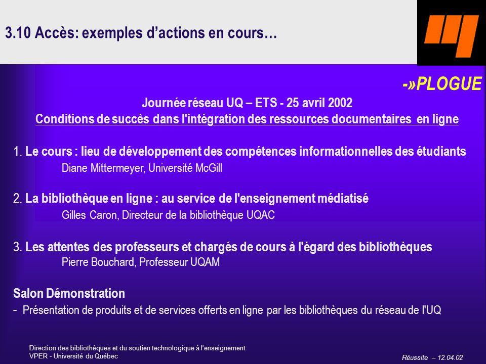 Réussite – 12.04.02 Direction des bibliothèques et du soutien technologique à lenseignement VPER - Université du Québec 3.10 Accès: exemples dactions en cours… -»PLOGUE Journée réseau UQ – ETS - 25 avril 2002 Conditions de succès dans l intégration des ressources documentaires en ligne 1.