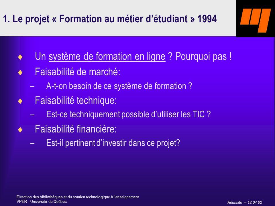 Réussite – 12.04.02 Direction des bibliothèques et du soutien technologique à lenseignement VPER - Université du Québec 1.