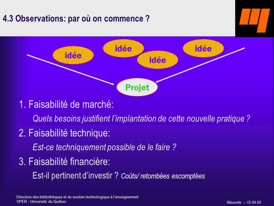 Réussite – 12.04.02 Direction des bibliothèques et du soutien technologique à lenseignement VPER - Université du Québec 4.3 Observations: par où on commence .