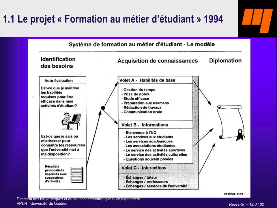 Réussite – 12.04.02 Direction des bibliothèques et du soutien technologique à lenseignement VPER - Université du Québec 1.1 Le projet « Formation au métier détudiant » 1994