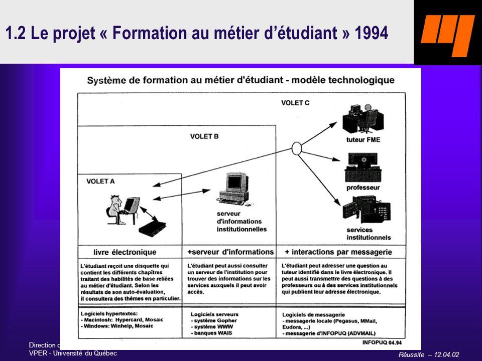 Réussite – 12.04.02 Direction des bibliothèques et du soutien technologique à lenseignement VPER - Université du Québec 1.2 Le projet « Formation au métier détudiant » 1994