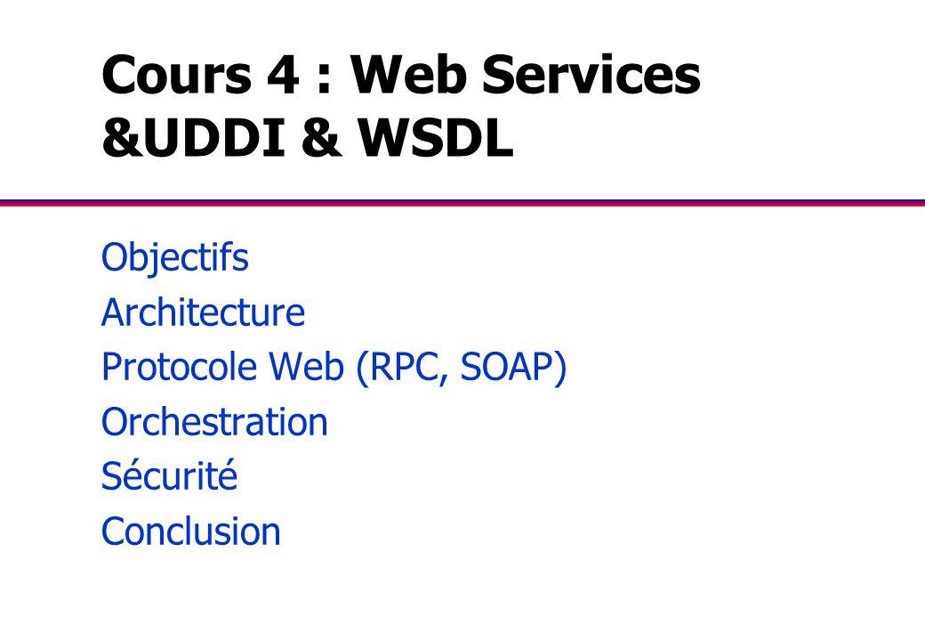 Cours 4 : Web Services &UDDI & WSDL Objectifs Architecture Protocole Web (RPC, SOAP) Orchestration Sécurité Conclusion