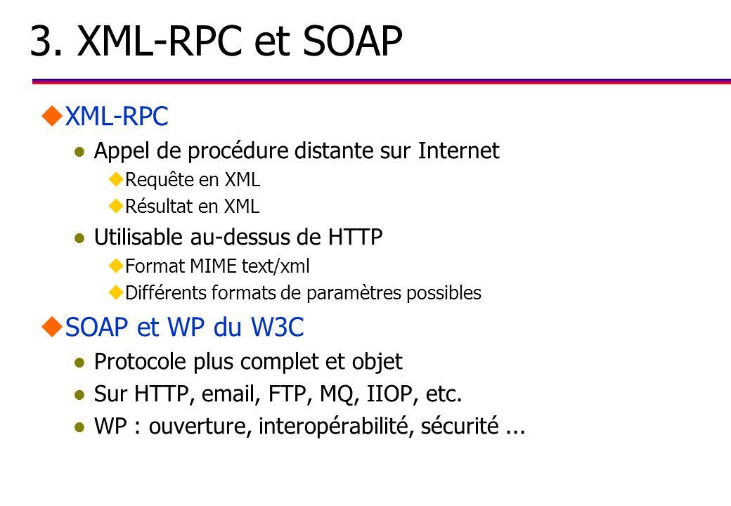 3. XML-RPC et SOAP uXML-RPC l Appel de procédure distante sur Internet uRequête en XML uRésultat en XML l Utilisable au-dessus de HTTP uFormat MIME te