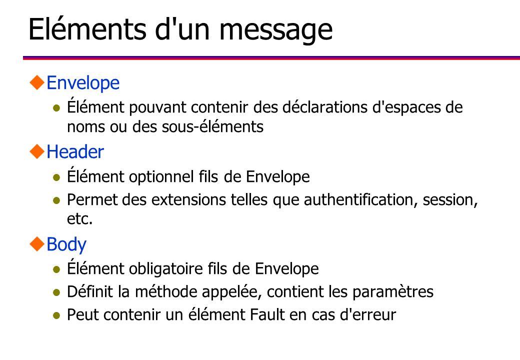 Eléments d un message uEnvelope l Élément pouvant contenir des déclarations d espaces de noms ou des sous-éléments uHeader l Élément optionnel fils de Envelope l Permet des extensions telles que authentification, session, etc.