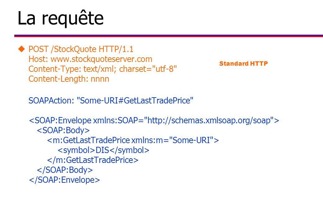 La requête uPOST /StockQuote HTTP/1.1 Host: www.stockquoteserver.com Content-Type: text/xml; charset= utf-8 Content-Length: nnnn SOAPAction: Some-URI#GetLastTradePrice DIS Standard HTTP