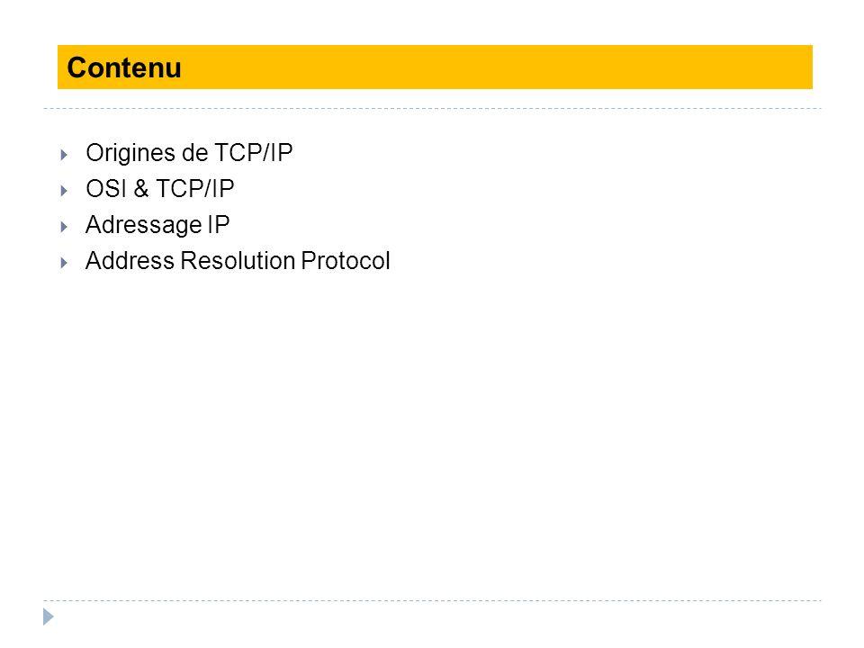 Origines de TCP/IP OSI & TCP/IP Adressage IP Address Resolution Protocol Contenu