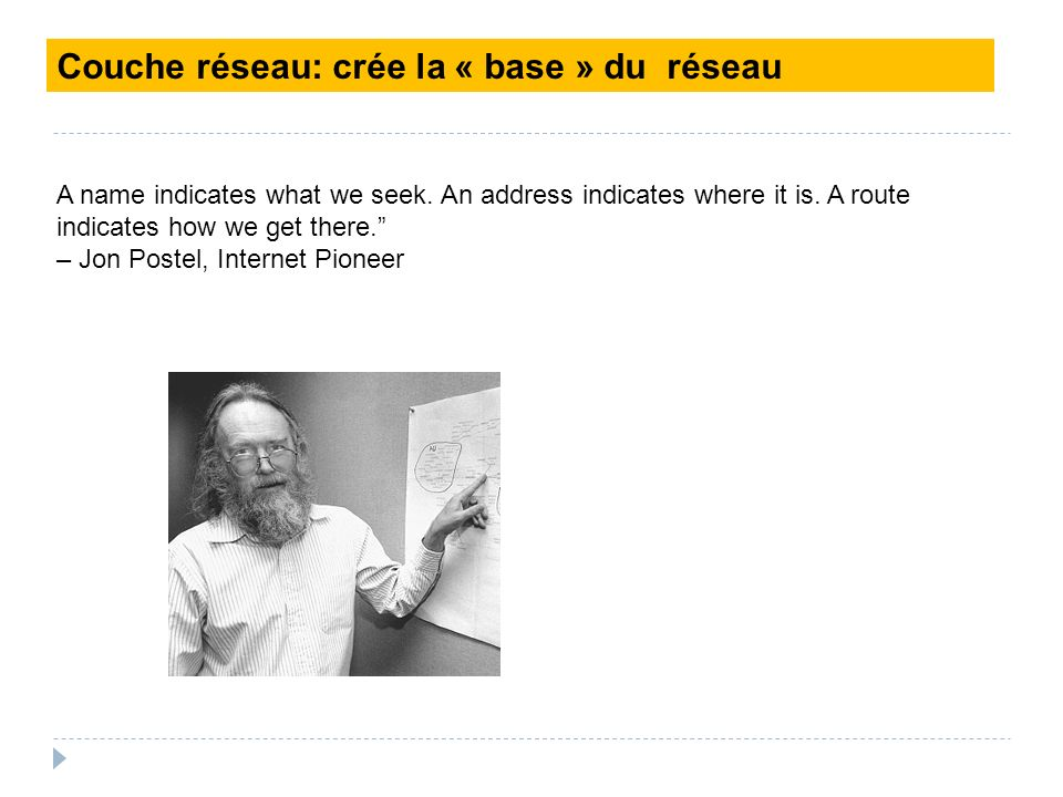 Couche réseau: crée la « base » du réseau A name indicates what we seek. An address indicates where it is. A route indicates how we get there. – Jon P