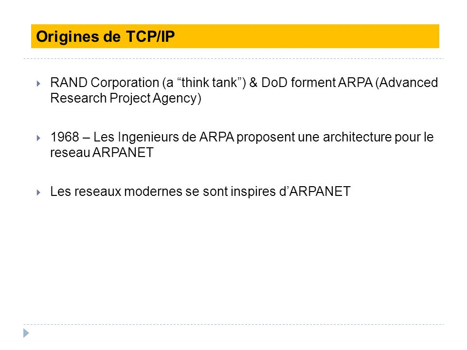 RAND Corporation (a think tank) & DoD forment ARPA (Advanced Research Project Agency) 1968 – Les Ingenieurs de ARPA proposent une architecture pour le
