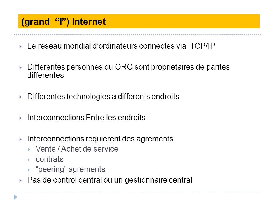 Le reseau mondial dordinateurs connectes via TCP/IP Differentes personnes ou ORG sont proprietaires de parites differentes Differentes technologies a
