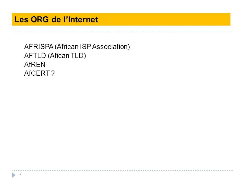 7 AFRISPA (African ISP Association) AFTLD (Afican TLD) AfREN AfCERT ? Les ORG de lInternet