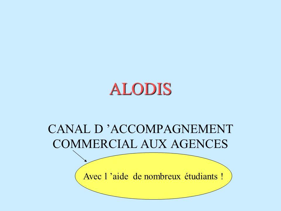 ALODIS CANAL D ACCOMPAGNEMENT COMMERCIAL AUX AGENCES Avec l aide de nombreux étudiants !