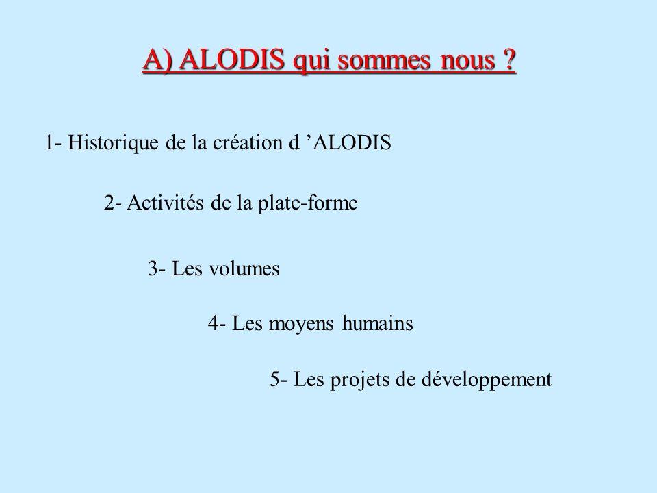 A) ALODIS qui sommes nous ? 1- Historique de la création d ALODIS 2- Activités de la plate-forme 3- Les volumes 4- Les moyens humains 5- Les projets d