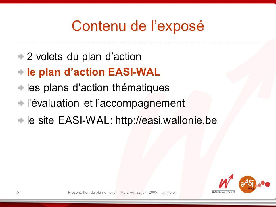5Présentation du plan daction - Mercredi 22 juin 2005 - Charleroi Contenu de lexposé 2 volets du plan daction le plan daction EASI-WAL les plans daction thématiques lévaluation et laccompagnement le site EASI-WAL: http://easi.wallonie.be