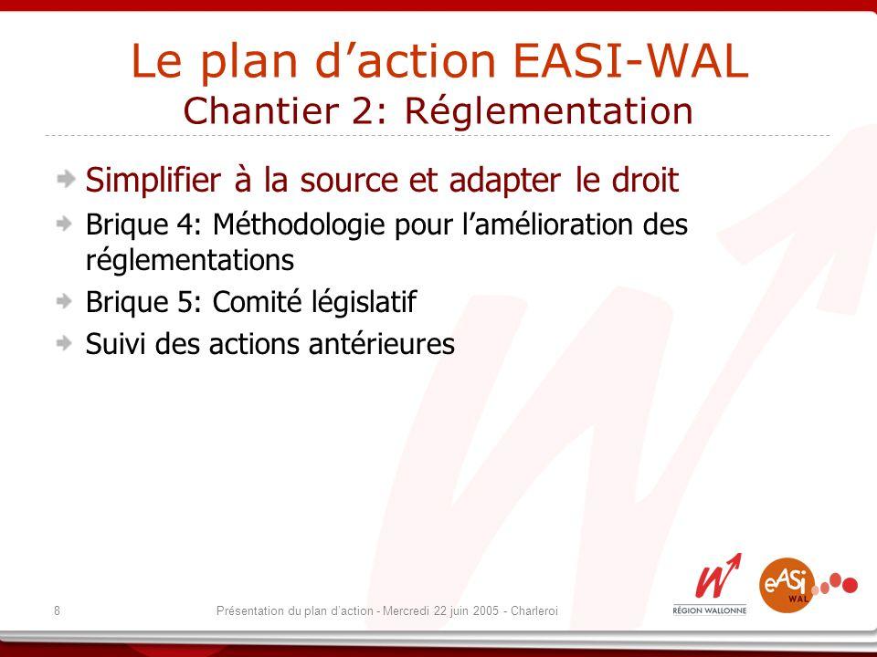 8Présentation du plan daction - Mercredi 22 juin 2005 - Charleroi Le plan daction EASI-WAL Chantier 2: Réglementation Simplifier à la source et adapter le droit Brique 4: Méthodologie pour lamélioration des réglementations Brique 5: Comité législatif Suivi des actions antérieures