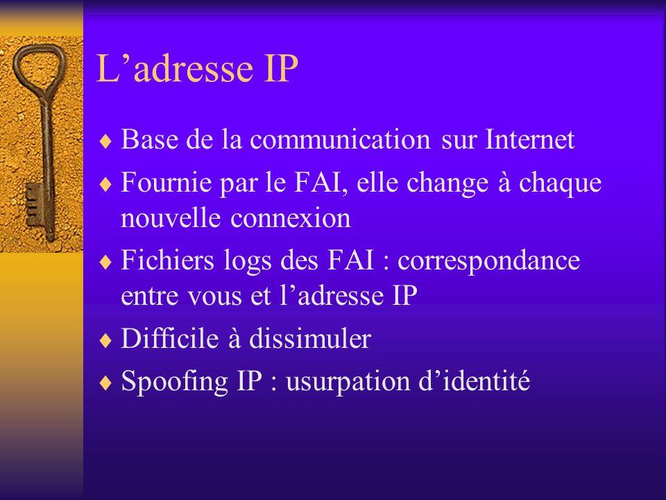 Ladresse IP Base de la communication sur Internet Fournie par le FAI, elle change à chaque nouvelle connexion Fichiers logs des FAI : correspondance e