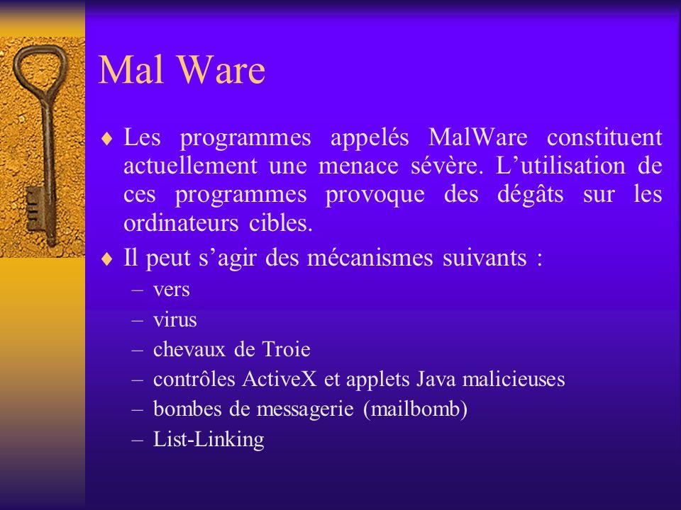 Mal Ware Les programmes appelés MalWare constituent actuellement une menace sévère. Lutilisation de ces programmes provoque des dégâts sur les ordinat