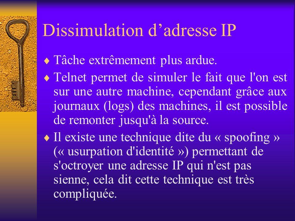 Dissimulation dadresse IP Tâche extrêmement plus ardue. Telnet permet de simuler le fait que l'on est sur une autre machine, cependant grâce aux journ