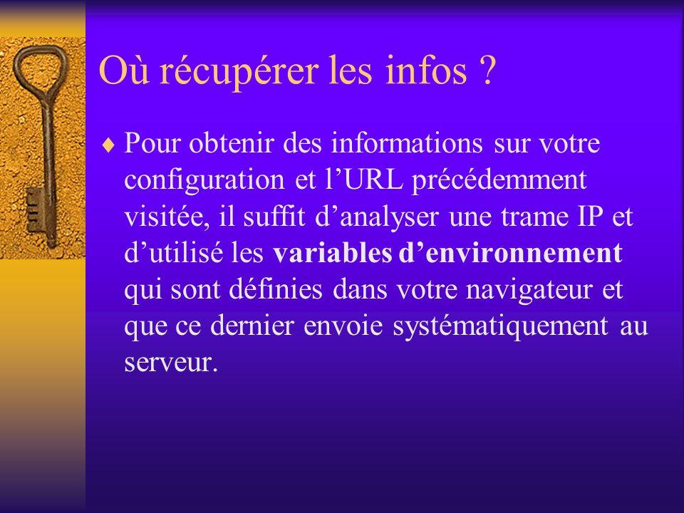 Où récupérer les infos ? Pour obtenir des informations sur votre configuration et lURL précédemment visitée, il suffit danalyser une trame IP et dutil