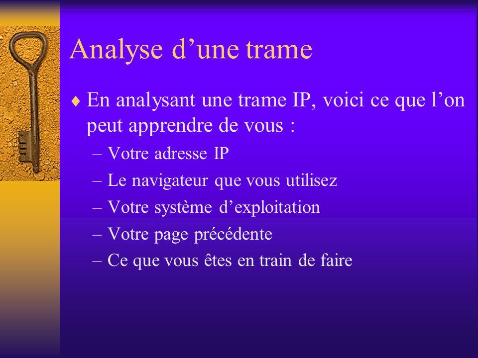 Analyse dune trame En analysant une trame IP, voici ce que lon peut apprendre de vous : –Votre adresse IP –Le navigateur que vous utilisez –Votre syst
