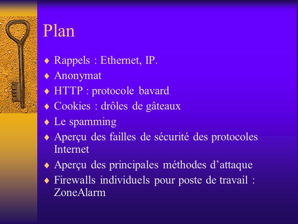 Plan Rappels : Ethernet, IP. Anonymat HTTP : protocole bavard Cookies : drôles de gâteaux Le spamming Aperçu des failles de sécurité des protocoles In