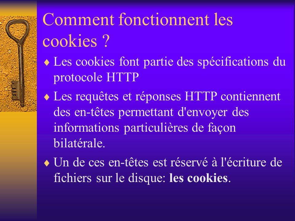 Comment fonctionnent les cookies ? Les cookies font partie des spécifications du protocole HTTP Les requêtes et réponses HTTP contiennent des en-têtes