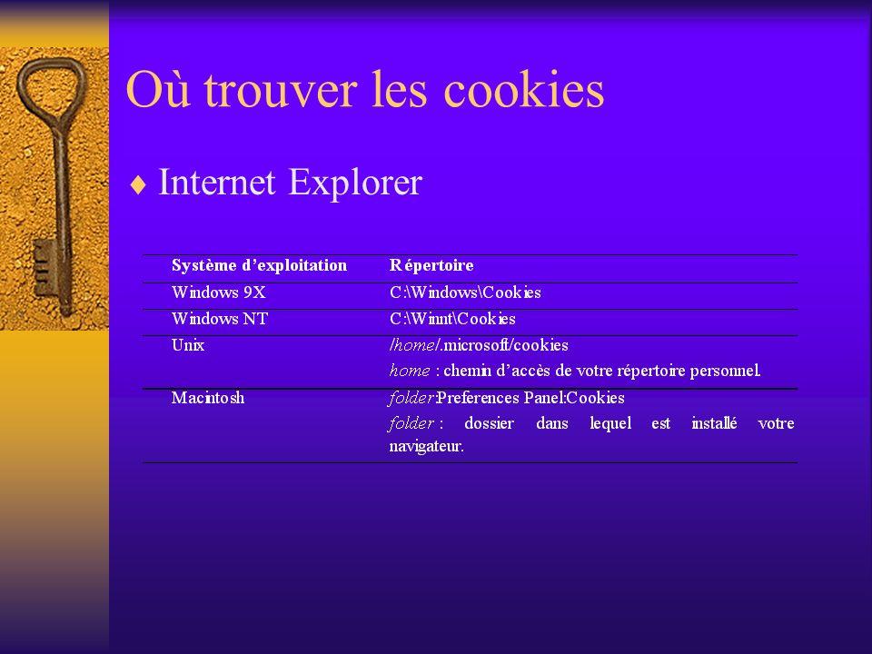 Où trouver les cookies Internet Explorer