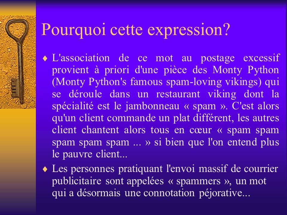 Pourquoi cette expression? L'association de ce mot au postage excessif provient à priori d'une pièce des Monty Python (Monty Python's famous spam-lovi