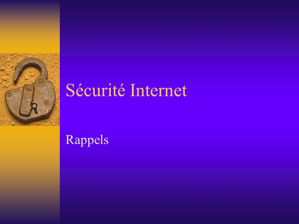 Denial of Service (DoS) Le terme Denial of Service signifie littéralement « refus de service » et désigne la situation dans laquelle un programme ou un ordinateur arrête de fonctionner sur Internet, ou nest plus accessible que très lentement, ou même est virtuellement déconnecté vis-à-vis de lextérieur.