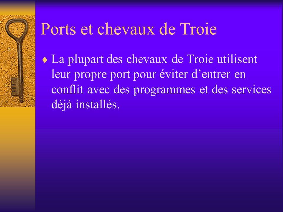 Ports et chevaux de Troie La plupart des chevaux de Troie utilisent leur propre port pour éviter dentrer en conflit avec des programmes et des service