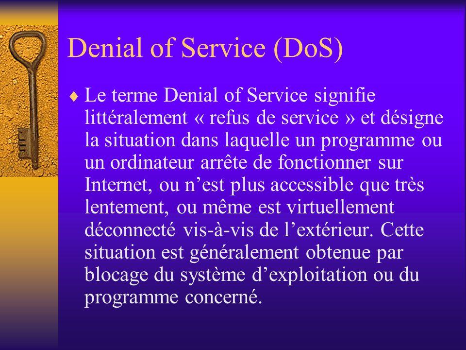 Denial of Service (DoS) Le terme Denial of Service signifie littéralement « refus de service » et désigne la situation dans laquelle un programme ou u