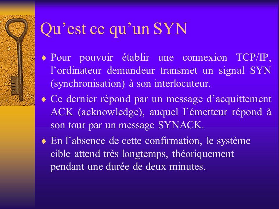 Quest ce quun SYN Pour pouvoir établir une connexion TCP/IP, lordinateur demandeur transmet un signal SYN (synchronisation) à son interlocuteur. Ce de