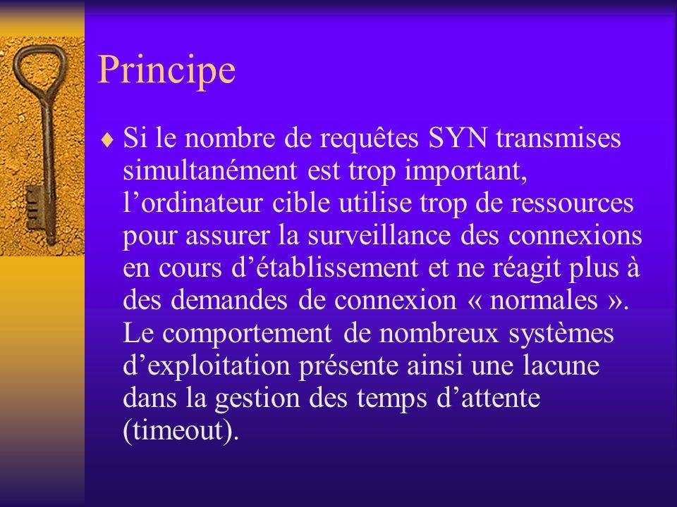 Principe Si le nombre de requêtes SYN transmises simultanément est trop important, lordinateur cible utilise trop de ressources pour assurer la survei