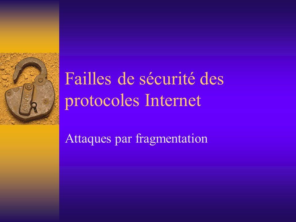 Failles de sécurité des protocoles Internet Attaques par fragmentation