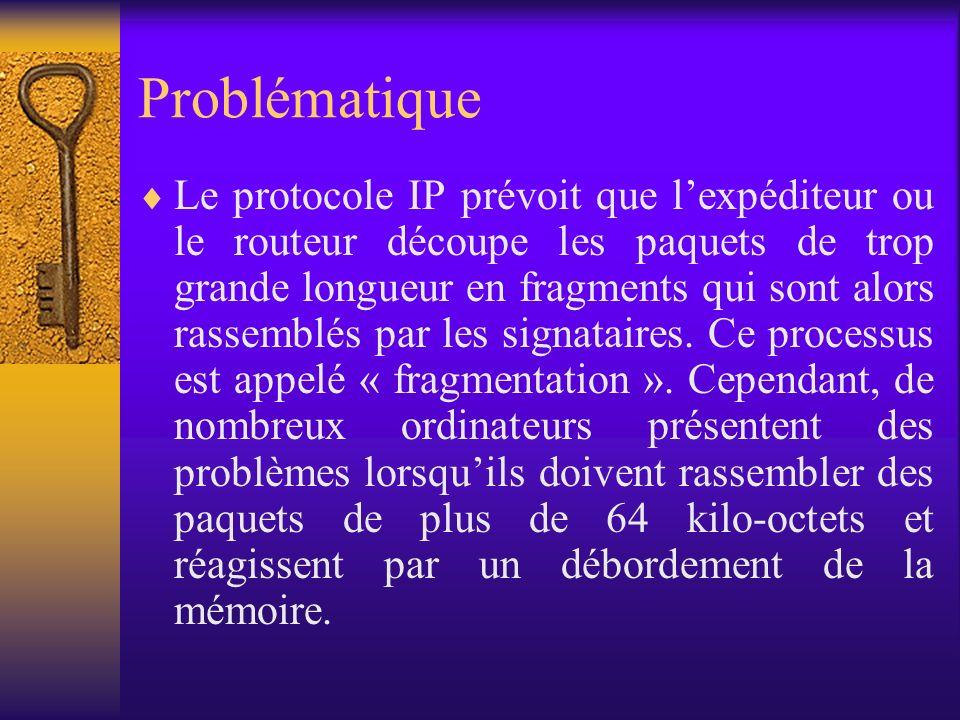 Problématique Le protocole IP prévoit que lexpéditeur ou le routeur découpe les paquets de trop grande longueur en fragments qui sont alors rassemblés