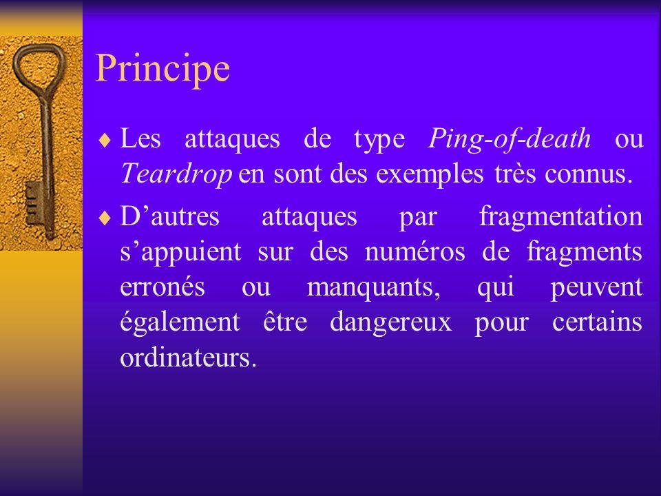 Principe Les attaques de type Ping-of-death ou Teardrop en sont des exemples très connus. Dautres attaques par fragmentation sappuient sur des numéros
