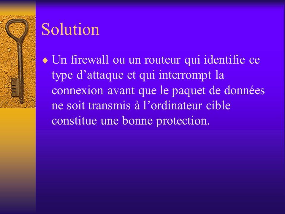 Solution Un firewall ou un routeur qui identifie ce type dattaque et qui interrompt la connexion avant que le paquet de données ne soit transmis à lor