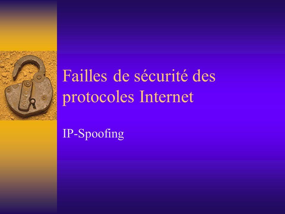 Failles de sécurité des protocoles Internet IP-Spoofing