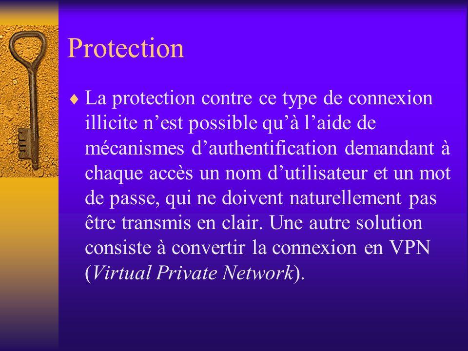 Protection La protection contre ce type de connexion illicite nest possible quà laide de mécanismes dauthentification demandant à chaque accès un nom
