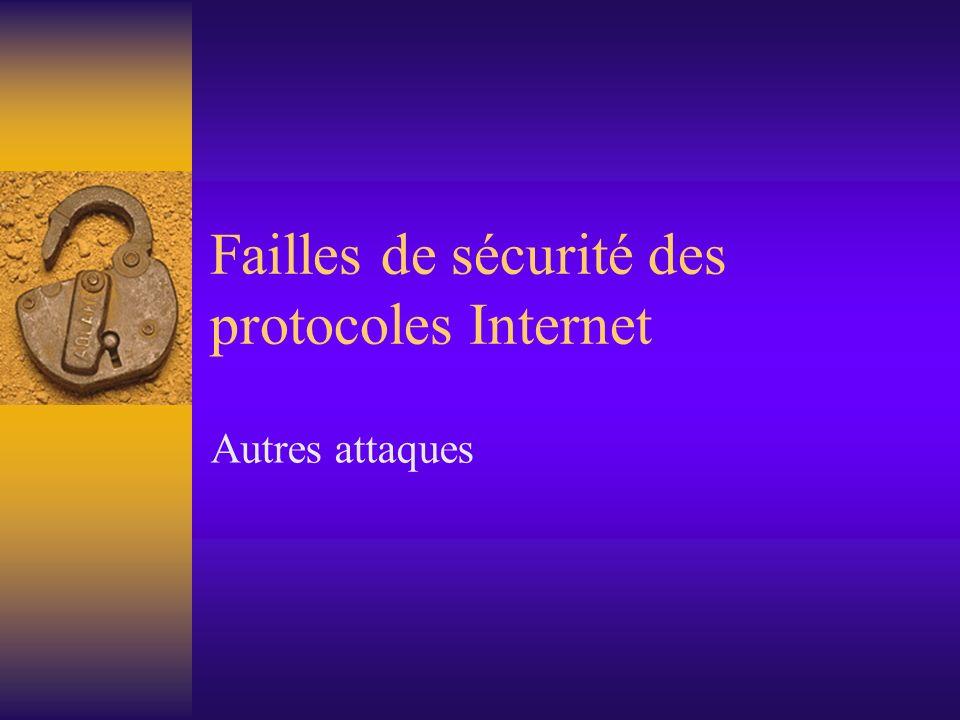 Failles de sécurité des protocoles Internet Autres attaques