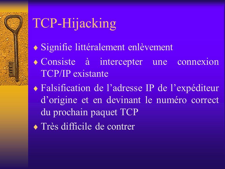 TCP-Hijacking Signifie littéralement enlèvement Consiste à intercepter une connexion TCP/IP existante Falsification de ladresse IP de lexpéditeur dori