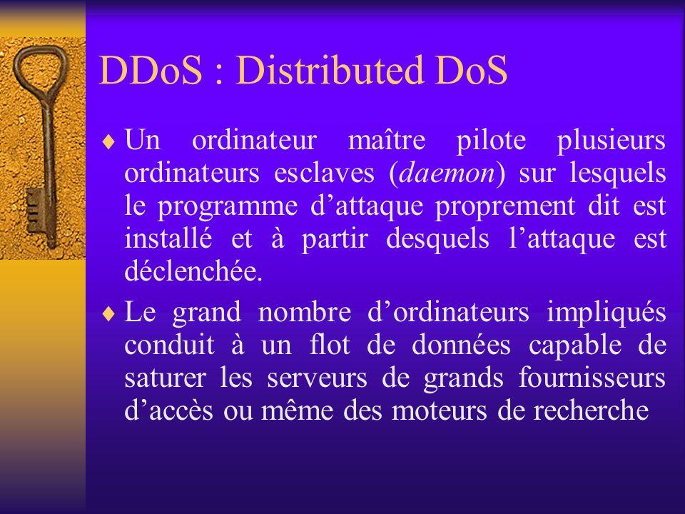 DDoS : Distributed DoS Un ordinateur maître pilote plusieurs ordinateurs esclaves (daemon) sur lesquels le programme dattaque proprement dit est insta