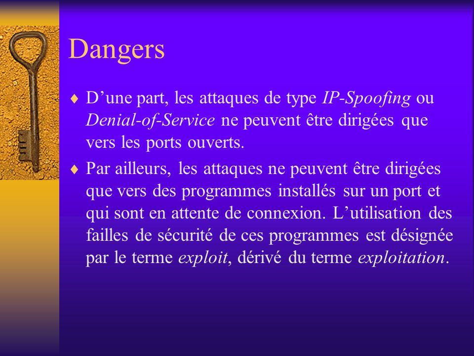 Dangers Dune part, les attaques de type IP-Spoofing ou Denial-of-Service ne peuvent être dirigées que vers les ports ouverts. Par ailleurs, les attaqu