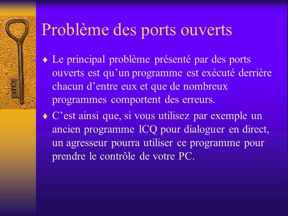 Problème des ports ouverts Le principal problème présenté par des ports ouverts est quun programme est exécuté derrière chacun dentre eux et que de no