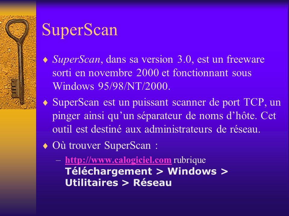 SuperScan SuperScan, dans sa version 3.0, est un freeware sorti en novembre 2000 et fonctionnant sous Windows 95/98/NT/2000. SuperScan est un puissant
